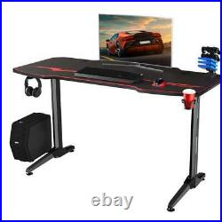 Black/Red Finish PC Gaming Desk Racing Style Carbon Fiber Surface Computer Table